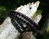 FREE SHIPPING Purple & Black Leather Wrap Bracelet