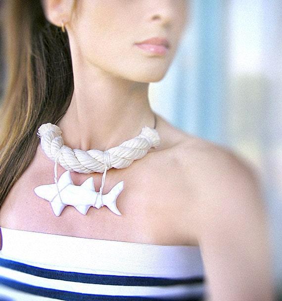 Statement Necklace Shark, white shark summer nautical jewelry, rope jewelry, sea resort jewelry, shark week jewelry