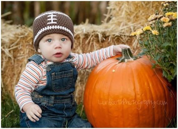 Baby football beanie or earflap hat - custom colors
