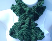 Green Crochet Scarf, Pine Green Ruffle Boa, Ruffle Ascot, Scarf, Women, Green Crochet Scarf