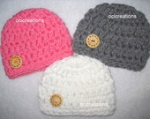 3 Crochet Baby Hats Photo Props Girl Set Pink White Grey READY To SHIP Newborn