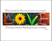 Words Inspired by Nature: LOVE Photographic Print- Red E & Yellow Sunflower (inspirational art, gift, home decor, flowers)