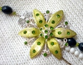 Party Statement Necklace with Lime Green Flower and Strands of Navy, Lime Green and White Beads, Reclaimed, Upcycled, Eco Friendly