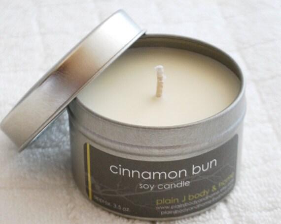 CLEARANCE Cinnamon Bun Soy Candle Tin 4 oz. - warm cinnamon fall bakery scented soy candle