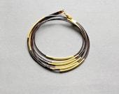 Skinny Leather Gold Tube Bangle Bracelet, Wrap Leather Bracelet
