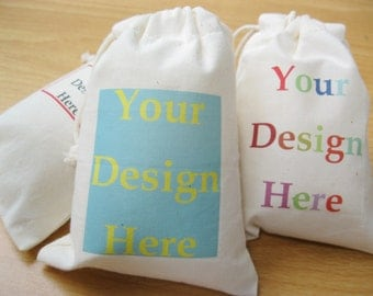 Personalized Cotton Linen Bags Drawstring Fabric Bags Custom