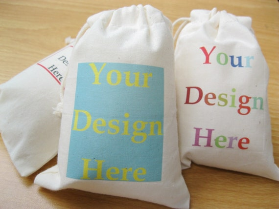 Custom Muslin Bag Fabric Gift Bags Drawstring Calico Bags Logo