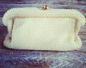 Vintage White Beaded Clutch circa 1960s