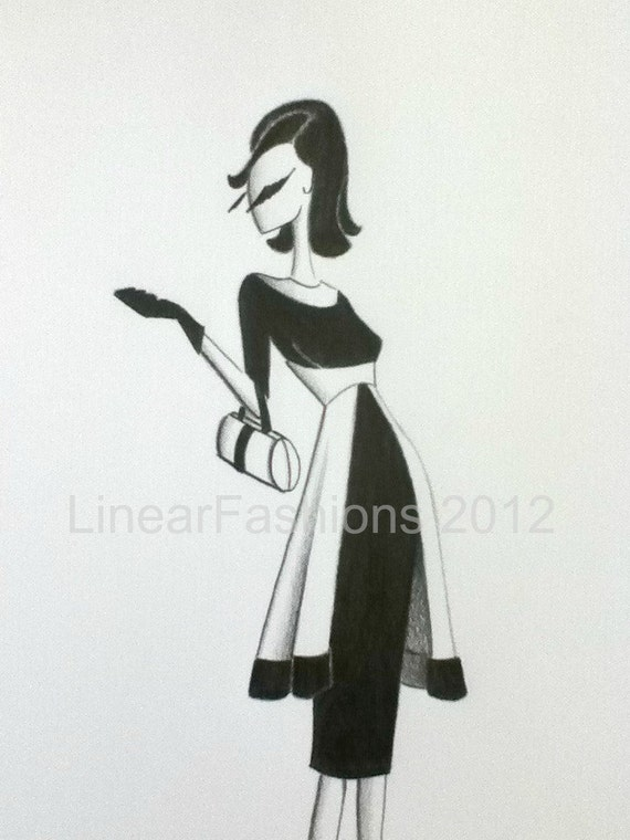 Fashion Illustration Art 1960s Mod Party Dress Decor
