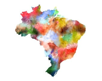 Brazil Map Print, Brazil Painting, Colorful Watercolor Map