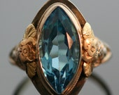 RESERVED FOR MAYA - Antique Ring - Antique Blue Topaz Ring