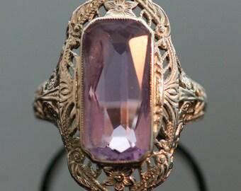 Antique Amethyst Ring-14k White Gold