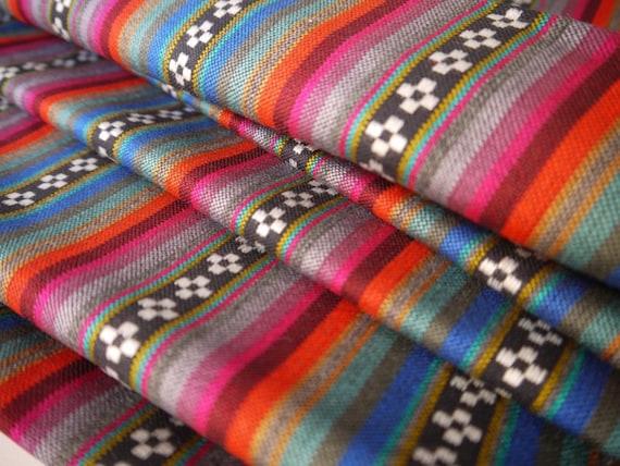 South American Fabric, Peruvian Fabric, Woven, Black Pampa Stripes, 1 Yard