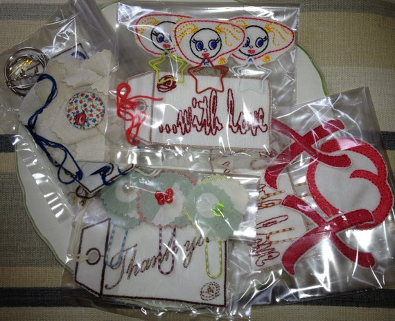 Gift Set of 4, Book Marks - Embroidery skipping Girls on Star Paper Clips & .....with love Gift Tag