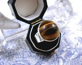 NE From Silver Ring Tigers Eye Modernist Danish Jewelry 1960s