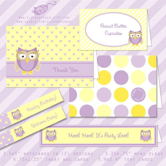Owl Party Printable Kit for Birthday Parties or Baby Showers - Purple and Yellow