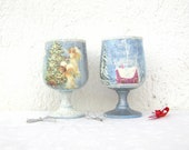 Set of 2 Christmas Glass Tea Light Candle Holders / Christmas Home Decor