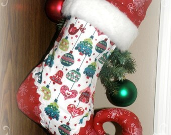 Christmas stocking - elf stocking with personalized name tag and jingle bell toe - EVERGREEN ORNAMENTS