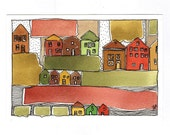 "Original Art. ""Autumn Houses."" OOAK.Watercolor Painting. - BlueMagpieDesign"
