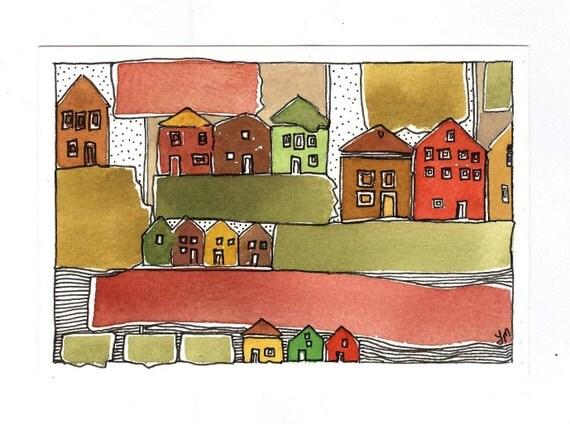 "Original Art. ""Autumn Houses."" OOAK.Watercolor Painting."
