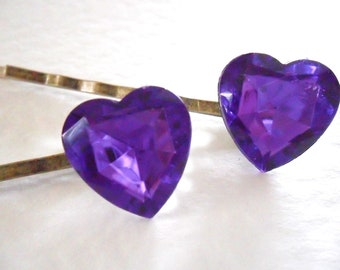 A Pair of Ultraviolet Jewel Heart Bobby Pins