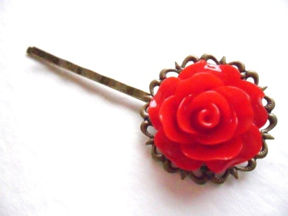 Bright Red Vintage Rose and Bronze Filigree Lace Bobby Pin  -  bronze hair clip slide pins grip