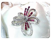 Vintage BOUCHER Brooch 1950's Red/Clear Rhinestone Ribbon No3370  1298ag-04011000