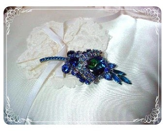 Tantalizing Blue AB Watermelon  D & E Juliana  Brooch  307a-071008046