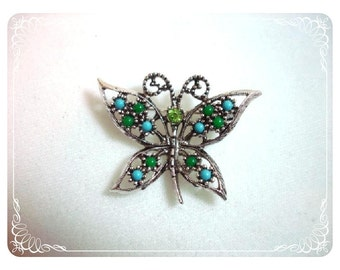 Blue & Green Butterfly - 1960's Vintage Signed Coventry of Canada   1424ag-012312000