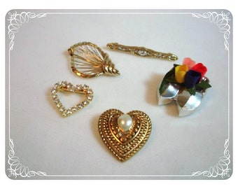Lot - Heart Flower & Bar Brooches - Lot of 5 Pins   Pin-1252a-012312000