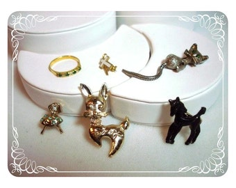 Childrens Jewelry Lot figural pins Bunny Cat Ballerina Horse Cross Ring 1393ag-012312000