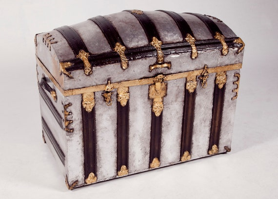Large Vintage Trunk / 23K Gold and Silver Leaf / Steamer / Treasure Chest
