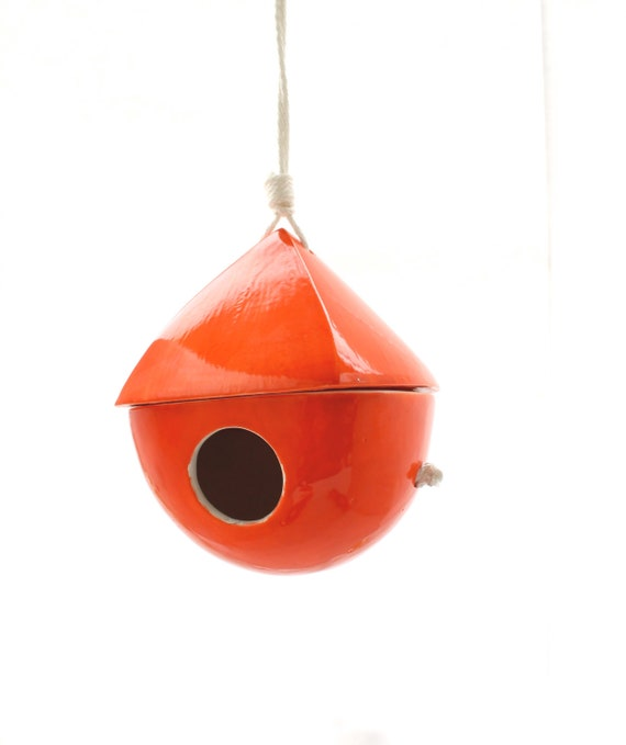 Porcelain Birdhouse- Dark Orange