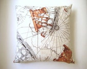 """Ship and Old Map Print Pillow Cover - Piri Reis Map and Ships Brown Print on Cream Linen Fabric - 18x18"""" - Ready to Ship"""