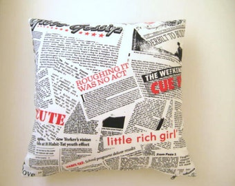"""Newspaper Pop Art Print Pillow Cover - Black and Red Article Print on White Linen Fabric - 18x18"""" - Ready to Ship"""
