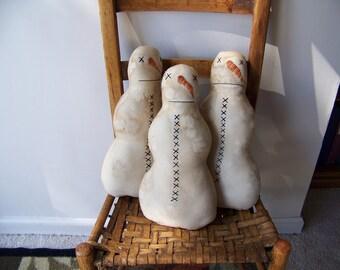 Grungy Primitive Simple Large Snowman Doll/Shelf Sitter