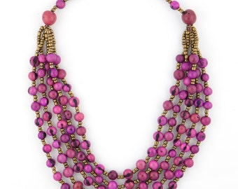 Acai Seed Necklace w/ Gold Accent Beading - TERRA Style