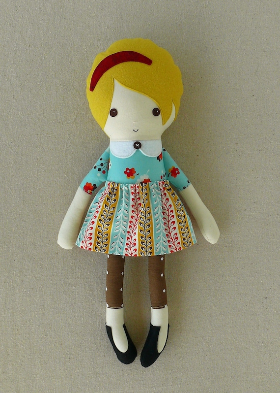 Fabric Doll Rag Doll with Floral Dress and Skirt