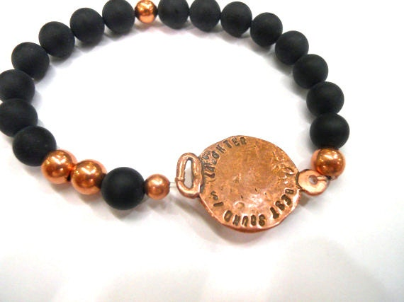 "Handmade Bracelet - ""The Best Sound is Laughter"" Onyx & Copper Beaded Bracelet - Friendship Bracelet - Unique Handmade Jewelry"