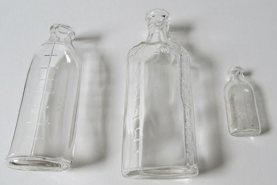 3 BABY BOTTLES 2 Vintage Embossed Clear Glass One DOLL Bottle Instant Collection