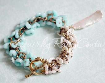 On Mermaid Isle - antique gold bracelet with keishi pearls, amazonite, a statement freshwater pearl pendant and mermaid toggle clasp OOAK