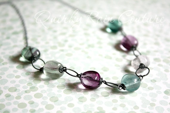 Faerie Lights - rainbow fluorite bubble gems on oxidised sterling chain