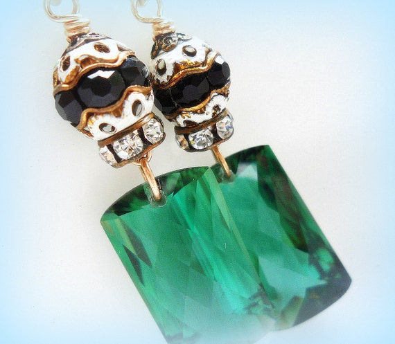AAA Emerald Green Amethyst Earrings Gold Filled Vintage Assemblage Upcycled Handmade Jewelry OOAK, Pantone 2013 Color of the year