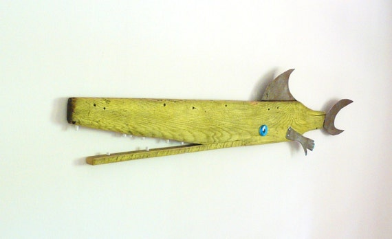 Large driftwood and recycled rusty steel fish sculpture - David BUOY