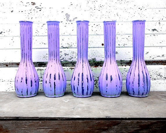 Reserved for Katie - Set of twelve purple Vases - Matching Bubble Bottom Mint Bud Vase - 9 inches tall