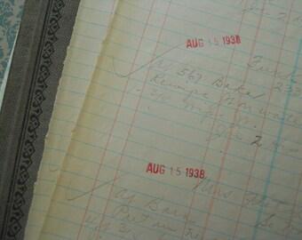 12 Antique Dated Handwritten Ledger Sheets