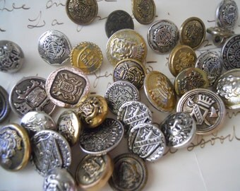 12 Vintage Metal Coat of Arms Buttons