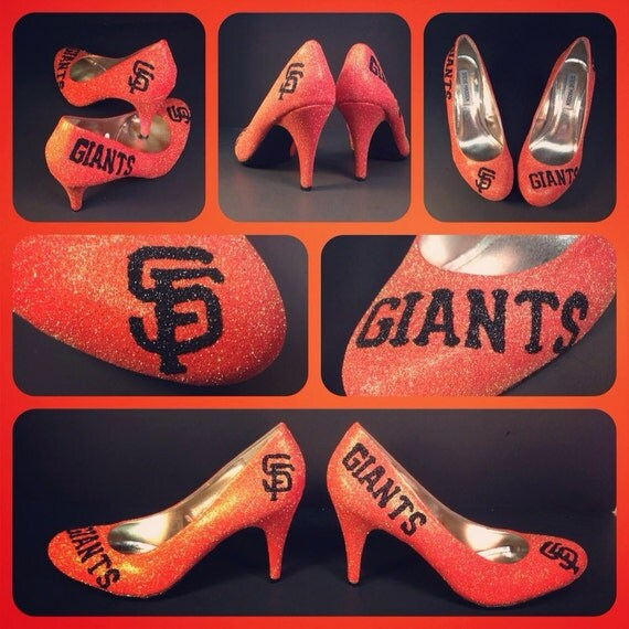 Black and orange glitter hand painted Giants shoes on Steve Maddens size 8.5