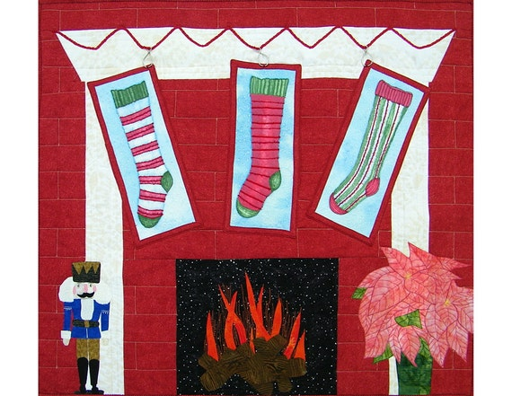 Quilted Wall Hanging, Christmas, Fireplace, Stockings