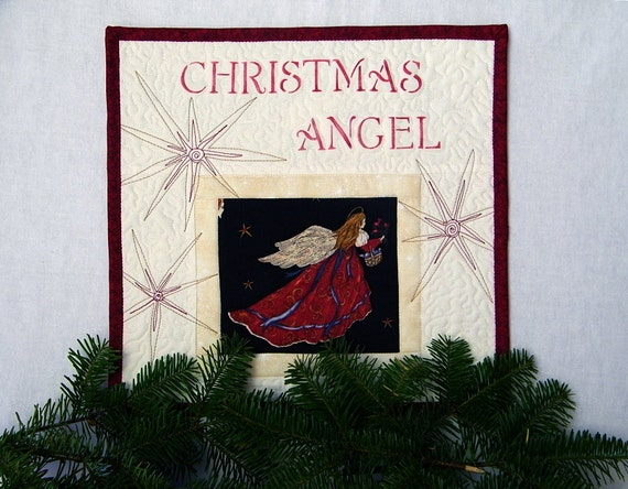 Quilted Christmas Angel, Wall Hanging, Patchwork Quilt